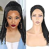 Box Braids Wigs Headband Wigs Braided Wigs for Black Women Fashion Synthetic Texture Wigs Braided Scarf Wigs Attached Braid Headband Wig Wrap Wigs 2 in 1 Lightweight Wigs(18 Inch,1B)