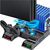 PS4 Vertical Stand Cooling Fan for PS4 Slim/ PS4 Pro/ Regular PlayStation4, PS4 Controller Charger Station for Dual Charging, PS4 Accesossries with Game Storage for Playstation Consoles