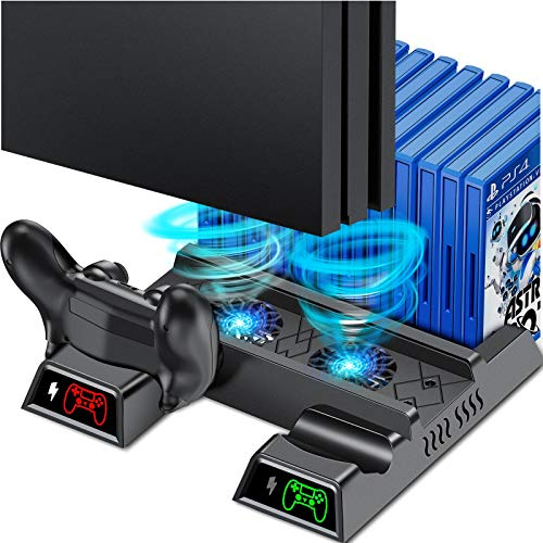 PS4 Vertical Stand Cooling Fan for PS4 Slim/ PS4 Pro/ Regular PlayStation4, PS4 Stand Controller Charger Station for Dual Charging, PS4 Accesossries with Game Storage for Playstation Consoles