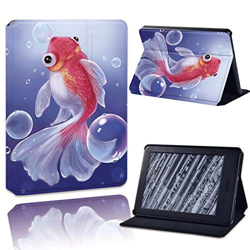 XINJIEJIE Pez Dorado A Prueba De Golpes Impresión Cuero Plegable Flip Tablet Case para Amazon Kindle(10.A Generación) 2019/Kindle (8A Generación) 2016 Drop Resistance Protective Cover
