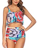 Wildtrest Two Piece Bikini for Women Modest Tankini Set High Waisted Two Piece Swimsuits Red