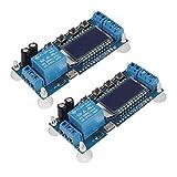 ACEIRMC 2個時間遅延リレー 5V 12V 24V 遅延コントローラボード 遅延オフセルフタイマー0.01秒-9999分 遅延スイッチングリレーモジュール マイクロUSBの5V電源をサポート LCD付き