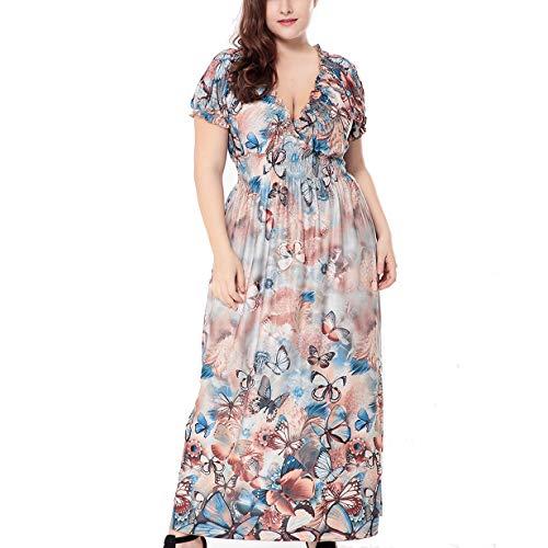 Mujeres Verano De Las Nuevas Del Vestido De Gran Tamaño cuello en v,Ruffle Impresión Largo Vestido,XL-6XL