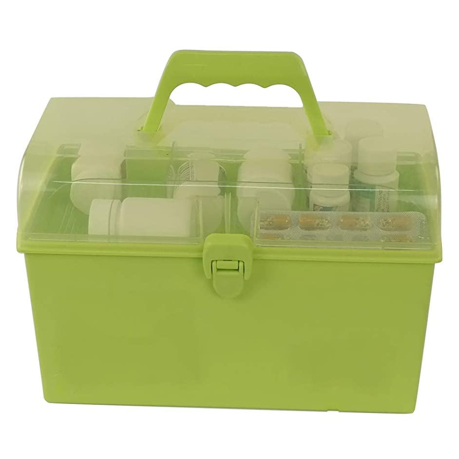 Doryh Durable Divided Small Art Box, Cosmetic Box with Lid, Green