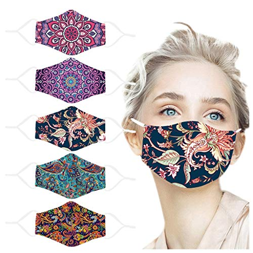 Mund und Nasenschutz Stoff Waschbar Erwachsene 5 Stücke Baumwolle Multifunktionstuch Mundbedeckung Staubschutz Atmungsaktiv Wiederverwendbar Gesichtsabdeckung Staubdicht Mund