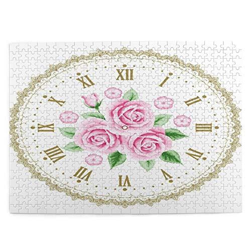 Rompecabezas con Imágenes 500 Piezas,Shabby Flora Reloj Vintage Cara Rosas Números Romanos Estilo Vintage Antiguo,Juego Familiar Arte de Pared Regalo para Adultos,Adolescentes,Niños,20.4' x 15'