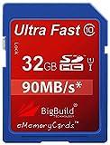 eMemoryCards 32GB Ultra rápido 90MB/s tarjeta de memoria SD SDHC para Canon EOS 500d cámara réflex digital