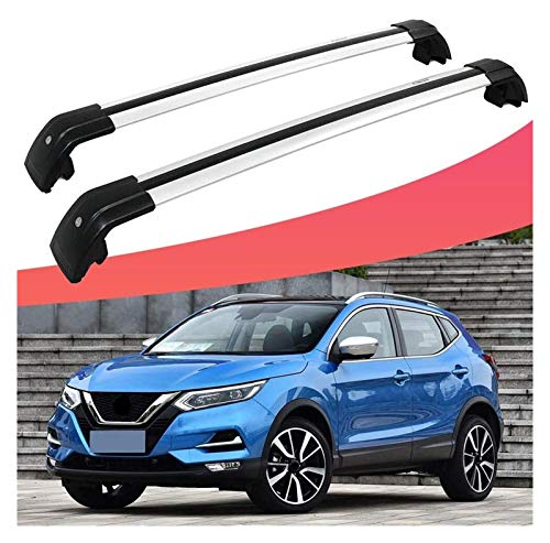 XIAOZHIWEN Coche Transversal Cross Bar Techo Top Rack Rack Equipaje Carrier de Carga para Nissan- Qashqai Rouge Sport 2017-2020 (Color : All Silver)
