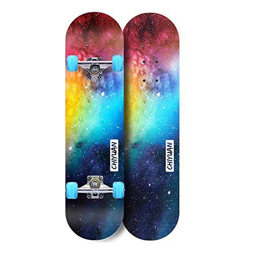 LONGXJA Skateboard, komplettes Skateboard für Anfänger. Maple Double Tilt Deck 31 Zoll, geeignet für Kinder, Jugendliche und Erwachsene.-Doppelseitiger Sternenhimmel_31 Zoll