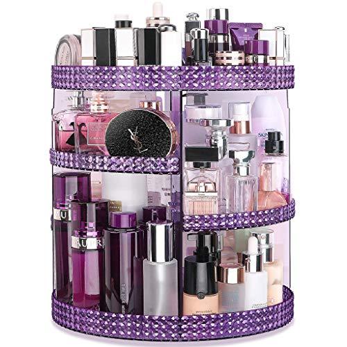 Awenia Organizador de Maquillaje Giratorio 360 Grados Organizador de Cosméticos Transparente Acrílico, con 7 Bandejas Ajustables, para Baño Dormitorio, 28 * 38cm (púrpura)