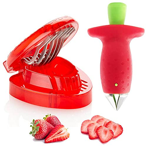 Strawberry Huller Fruit Slicer Set, Berry Stem Leaves Huller Gem Remover Removal Fruit Peeling Tool Kitchen Accessories Corer Easy for Remove Strawberry Tomatoes and Stem Tool (1PCS)