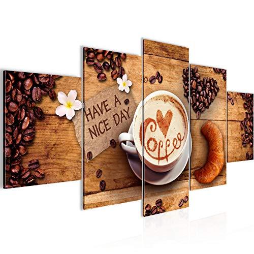 Bilder Küche Kaffee Wandbild Vlies - Leinwand Bild XXL Format Wandbilder Wohnzimmer Wohnung Deko Kunstdrucke Braun 5 Teilig - MADE IN GERMANY - Fertig zum Aufhängen 501253a
