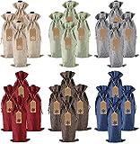 Jute-Wein-Geschenktüten, 24 Stück, mit Kordelzug, für Weinflaschen, mit Seilen und Anhängern für Weihnachten, Hochzeit, Reisen, Geburtstag, Urlaubsparty (24 Stück, 6 Farben)