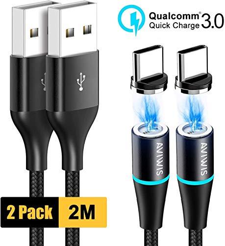 AVIWIS Cavo USB Tipo C Magnetico, [2Pezzi 2M] Nylon Magnet Cavo USB C Caricabatterie Carica e Trasferimento Dati per Samsung Galaxy S10/ S9/ S8/ Note9, Huawei P20/P10, Mi A2, OnePlus 6T