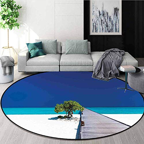 Beach 3D Printed Round Carpet Fantastic Beach with Wooden Platform Vibrant Ocean Sky Lonely Tree Serene for Partial Areas D67 Inch Navy Turquoise Cream
