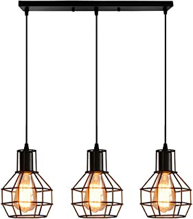 Chao Zan Lámpara de techo vintage negra,colgante de 3 llamas, lámpara retro de diseño industrial con casquillo E27, con barra de base de montaje 50 cm - Cocina/comedor/mesa de comedor