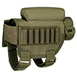 COSCOL Rifle Cheek Riser, Buttstock Ammo Holder Adjustable Tactical Rifle Cheek Rest for 300 308 Winmag (Army Green)