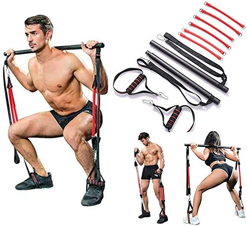 Da Xni Professional Pilates Bar Kit with 6 Removable Elastic Adjustable Resistance Band Pilates Stick with Foot Loop for Yoga, Stretch, Sculpt, Twisting, Sit-Up 180 lbs
