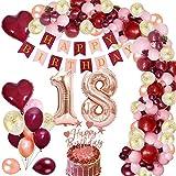 MMTX 18 Globos Cumpleaños Decoraciones de Borgoña con Globos de Aluminio Globos de Confeti de Oro Rosa Rojo Vino Torta de Banner para Niña Mujer Cumpleaños Aniversario Recuerdos de Fiesta