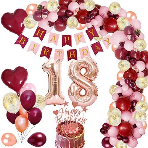 MMTX 18 Geburtstag Dekoration Burgunder Geburtstagdeko mit Folienballon Wein Rot Rose Gold Konfetti Luftballons Banner Cake Topper für Mädchen Frau Geburtstag Jubiläum Gastgeschenke