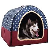 L.TSA Casa para Mascotas 2 en 1 Cama para Mascotas Casa Grande para Perros Invierno Mantener abrigado Lavable Cuatro Estaciones Perrera para Perros Caseta para Perros de Interior Estrellas Azules