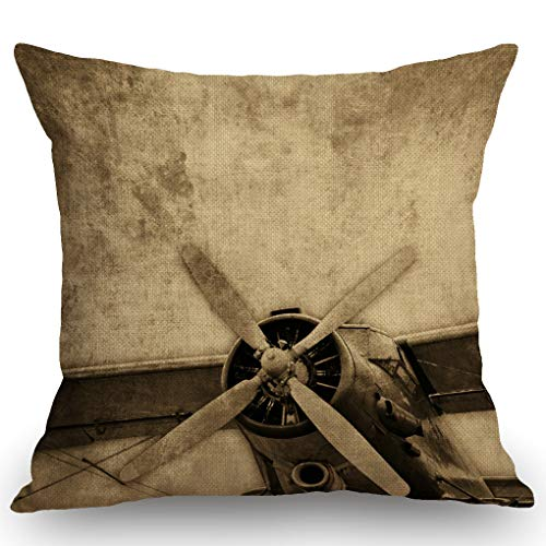 SSOIU Old Aircraft Throw Pillow Cover, Vintage Airplane Pillow Decorative Throw Pillow Covers Cotton Linen Farmhouse Cushion Cover 18x18 Inches for Home Couch Sofa Bench Decor