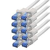 BIGtec - 10 Stück - 1m CAT.7 Gigabit Patchkabel Netzwerkkabel weiß Kupferkabel Patch Ethernt LAN...