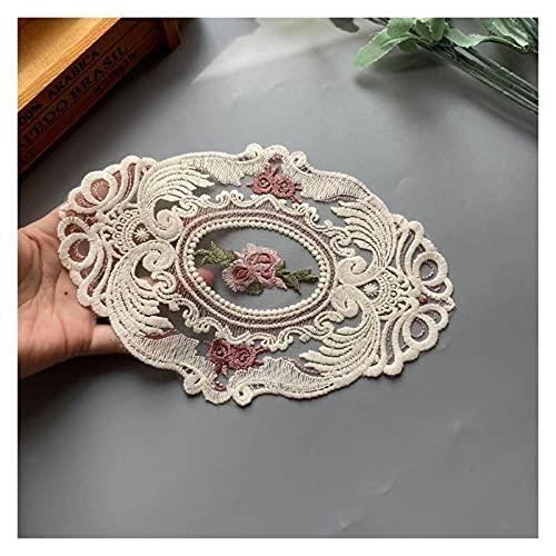 baidicheng Cinta de encaje de 16 x 23 cm con diseño de flores de encaje rosa para sofá, cortina o cama