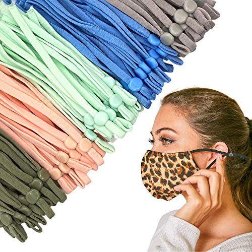 AnandaCo 100 Pieces of Pastel Color Adjustable Elastic Straps for Face Masks, Elastic String for Masks, Elastic Cord for Masks, Earloop for Masks, Elastico para Mascarillas