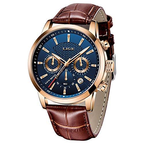 Relógio masculino de quartzo analógico com cronógrafo LIGE de luxo militar esportivo clássico casual à prova d'água relógio de pulso masculino de couro marrom branco, gold blue, 8.07