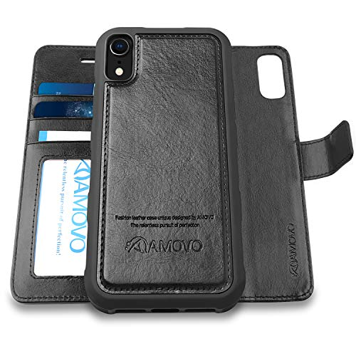 AMOVO Case for iPhone XR [2 in 1] iPhone XR Wallet Case Detachable [Vegan Leather] [Card Slot] [Kickstand] [Magnetic Closure] iPhone XR Folio Flip Case (6.1'') with Gift Box Package (iPhone XR, Black)