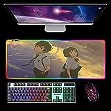 Alfombrilla De Ratón RGB Anime Tu Nombre,Superficie De Juego Suave,14 Modos De Iluminación,Alfombrilla De Ratón Extendida Suave Led,Alfombrilla De Escritorio,para Computadora B 600X300Mm