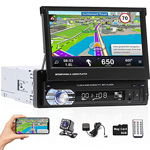 Hikity Single Din Car Stereo 7 Inch Flip Out Touch Screen Car Radio...