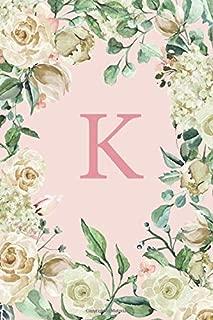 K: Pretty White Roses and Peonies Monogram Sketchbook  | 110 Sketchbook Pages (6 x 9) | Floral Watercolor Monogram Sketch Notebook | Personalized Initial Letter Journal | Monogramed Sketchbook