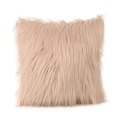 ADESHOP Linen Cushion Covers, Plush Furry Solid Color Luxurious Scatter Throw Cushion Cases 18 * 18inch, Beige