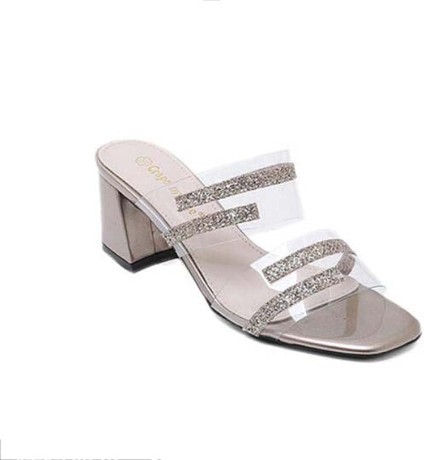 Cool Slippers PVC Sequins Mules Women Pump 6cm Chunkly Heel Open Toe Transparent Sandals Crystal shoes Court shoes Roma shoes EU Size 34-40
