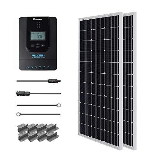 Renogy 200W 12V Mono Solarmodul Solar-Set Solaranlage Solarenergie mit MPPT Solarregler Laderegler mit LCD-Anzeige für RV, Caravan, Wohmobil, Hause, Camping