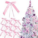 CINMOK 80 Pcs Christmas Tree Bows Large Satin Bows Wedding Car Ribbons and Bows Pink Antenna Bows Gift Decorative Bow Xmas Bows Ornaments for XmasThanksgiving Wedding Birthday Thanksgiving Party Decor