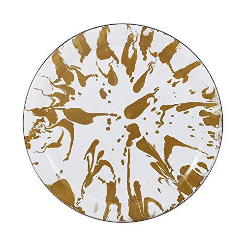 Bandeja/Prato 39 Esmaltado Marmorizado Marrom - Ewel
