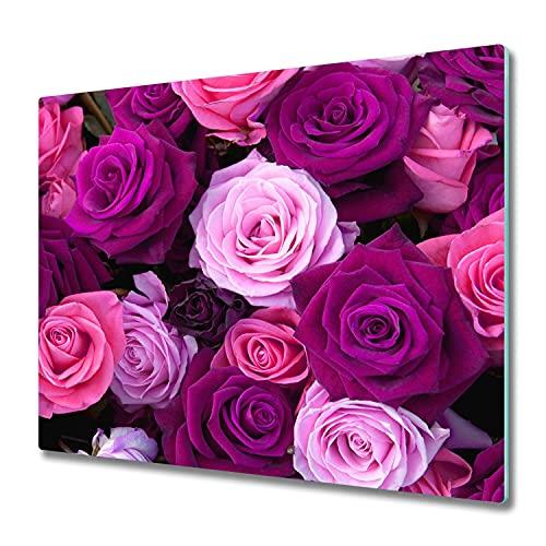 Tulup Tabla de Cortar 60x52cm Cocina Vidrio Templado Cubrir Protección de Inducción Placa Protector - Rose