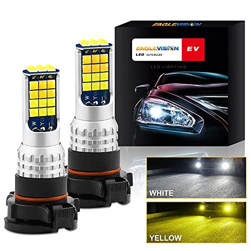 Bombillas LED para luz antiniebla, extremadamente superbrillantes 160W 17000LM 6000K Blanco Luces antiniebla de tamaño pequeño Haz alto y bajo 6000K IP67 Impermeable Blanco frío Paquete de 2