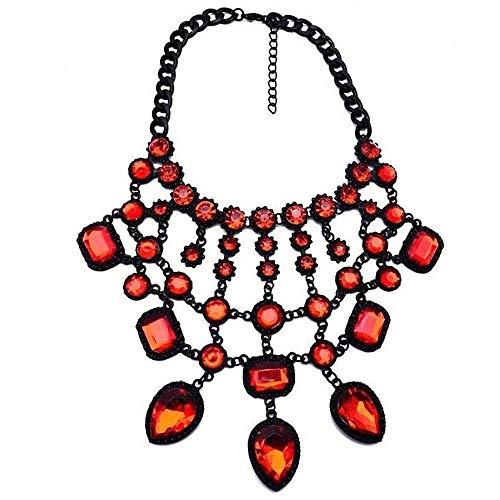 ZIJ Big Rhinestone Beads Metal Maxi Collares para Mujeres Joyería de Moda Cristal Collar Gargantilla Collar Tassel Choker (Metal Color : 4)