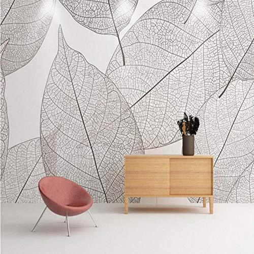 Dwqlx Weinlese-Foto-Tapeten 3D Geometrische Blatt-Wandgemälde-Weiß-Schwarz-Beschaffenheits-Tapeten Für Wohnzimmer-Hauptdekor-Natur-Bäume-120X100Cm