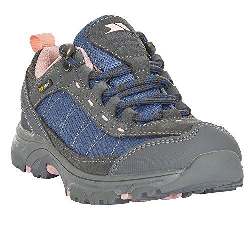 Trespass Hamley - Chaussures de Randonnée imperméables - enfant Unisexe (35 EU) (Gris/Bleu/Rose)