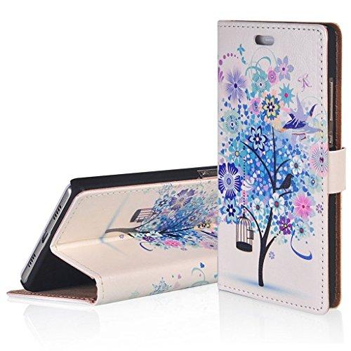 WindCase Klappetui Brieftasche PU Leder Schutzhülle für Alcatel OneTouch Flash OT-6042D Hülle Blau Baum Muster PU Ledertasche Case mit Standfunktion Kartenfächer