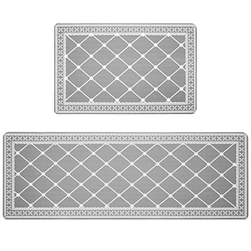 """HEBE Anti Fatigue Kitchen Floor Mats Set of 2 Thick Cushioned Kitchen Rugs Mats Set Waterproof Non Slip Comfort Floor Rug Carpet for Kitchen Sink,Laundry 18""""x27""""+18""""x48"""""""