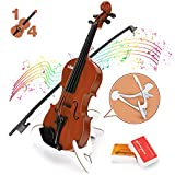 BAOLI Kids Simulation Violin Toys with Free Rosin, Chin Rest, Strings, Educational Musical Toy Violin for Toddlers Beginners Above 36 Months, Christmas Birthday Gifts for Boys&Girls(1/4 Brown)