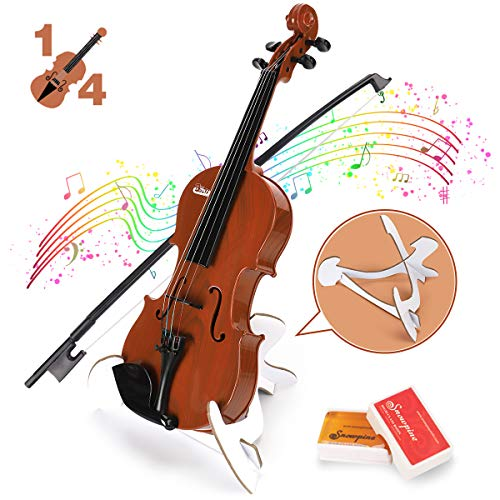 BAOLI Kids Simulation Violin Toys with Free Rosin, Chin Rest, Strings, Educational Musical Toy Violin for Toddlers Beginners Above 36 Months , Christmas Birthday Gifts for Boys&Girls(1/4 Brown)