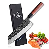 Kiritsuke Knife Ultra Sharp Japanese Chef Knife 8 Inch Hand Forged Kitchen Chopping Knives Professional German High Carbon Steel Cooking Knives Multipurpose Bunka Knives for Home Restaurant