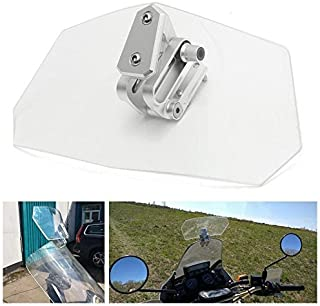 Lisyline Adjustable Clip On Windshield Extension Spoiler Wind Deflector WindScreen Protector For Motorcycle